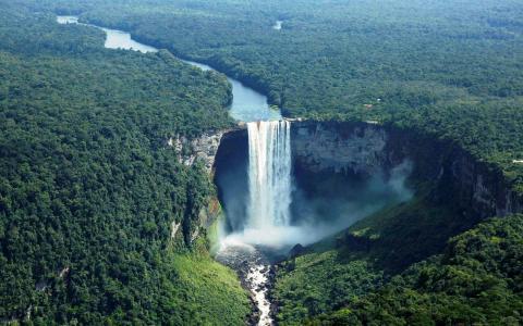 河,森林,瀑布,丛林,瀑布kayetur,gayana
