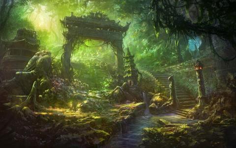 河,大门,步骤,废墟,瀑布,楼梯,艺术