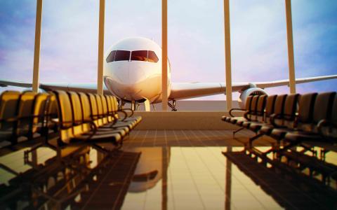 等候,机场,终端,长椅,长椅,地板,玻璃,窗口,飞行,飞机,航空,天空,晚上