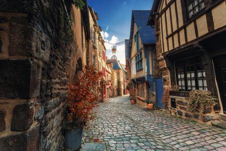法国,布列塔尼,城市,迪南,街道,房屋,路面