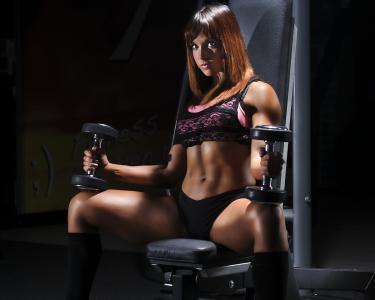 女孩,运动,坐在,哑铃,训练,看看,fitonishka