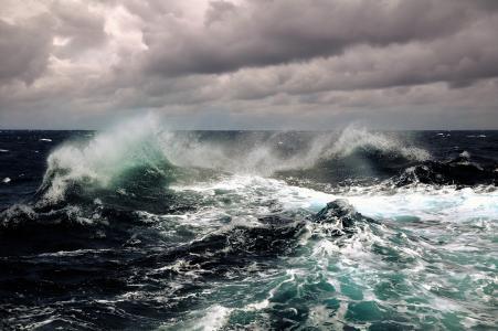 水,天空,云,波,泡沫,喷雾,海洋,风暴