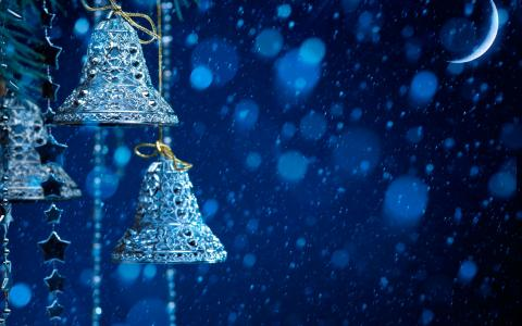 圣诞节,钟声,月亮,玩具,雪