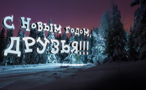冬天,天空,新年,夜晚,性质,雪,云杉,祝贺,费多托夫谢尔盖