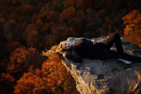 秋天,岩石,毛衣,Angelika,Jesse Herzog,女孩