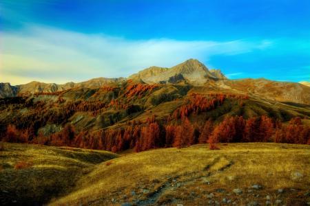 法国,山,秋,天空,阿尔卑斯山,树木,性质