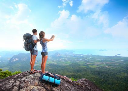 旅游,山谷,家伙,海,女孩,身高,山