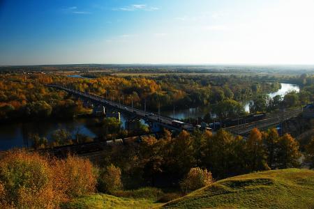 全景,视图,河,高速公路,铁路