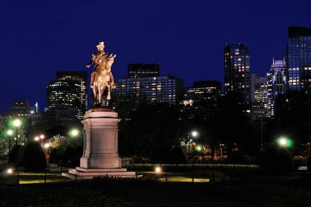 美国,房子,纪念碑,夜,波士顿,城市