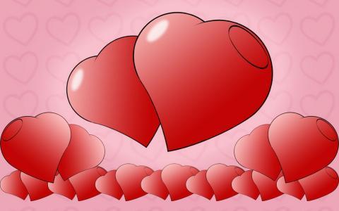 开朗的心,粉红色,小小的心灵
