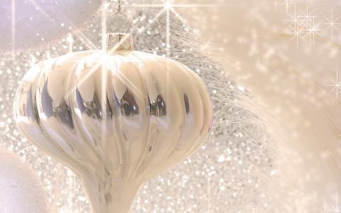 新的一年,饰品,白,银