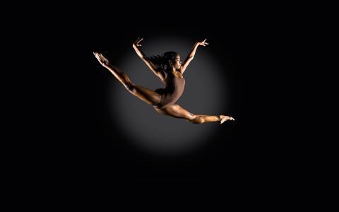 女孩,女运动员,飞跃,美!共青团