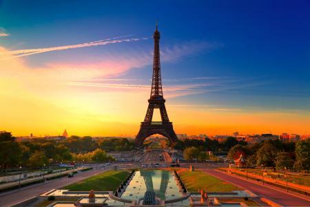 巴黎,美丽的法国,巴黎日落,埃菲尔铁塔,城市,法国