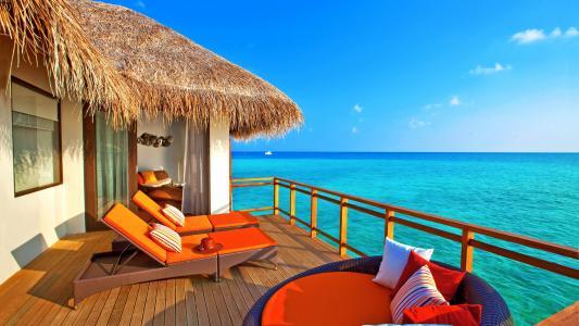 夏天,热带,海,马尔代夫,平房