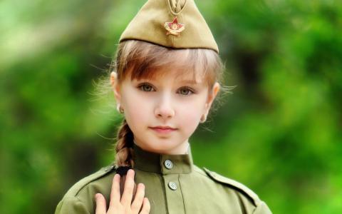 女孩,儿童,制服,辫子,明星,帽,眼睛