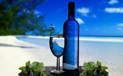 海洋,沙,海,水下,岸,玻璃,瓶