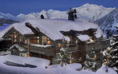 法国,阿尔卑斯山,山,雪,酒店,房子,美容,休息