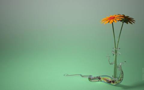 绿色,极简主义,水晶花瓶,蜗牛,橙色雏菊