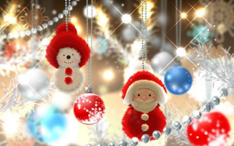 艺术,雪人,珠子,圣诞树,玩具,圣诞老人,新的一年
