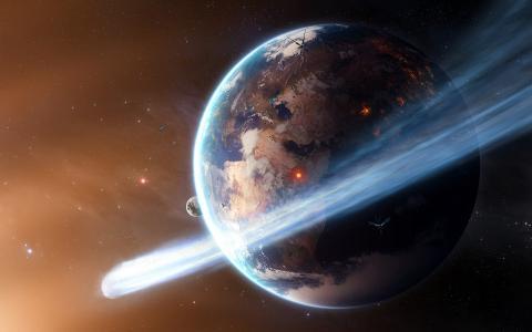 卫星,星球,火,彗星,空间,地球,星星