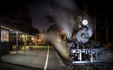 火车,车站,晚上