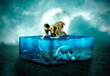 天空,海,女孩,水族馆,鱼,3d,photomanipulation