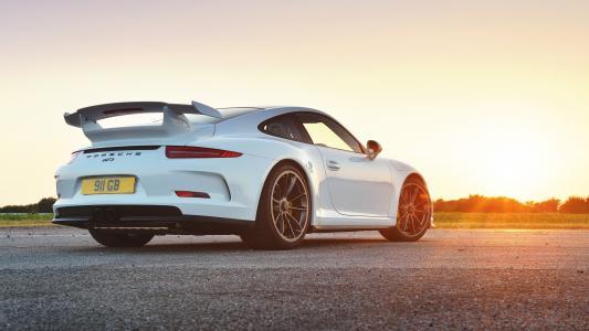 保时捷,日落,后方,白色,2014年,英国规格,911,GT3,991