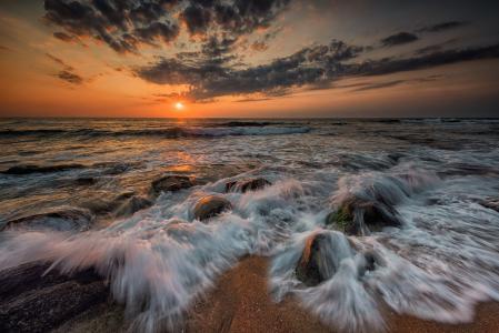 海,冲浪,石头,天空,云,日落