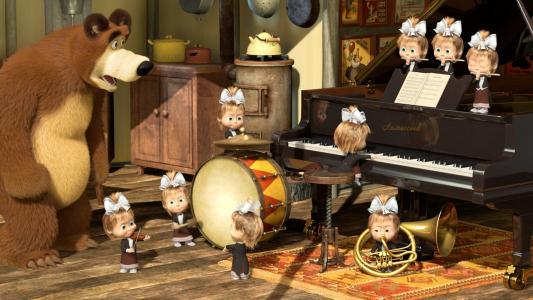 马沙和熊,卡通,积极,孩子,熊,乐器