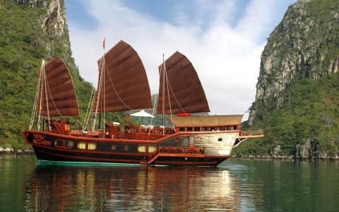 哈龙湾,越南,水,山,亚洲,船只