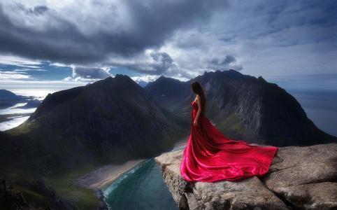 照片,挪威,山,岩石,峡湾,女孩