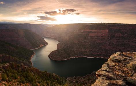 自然,河,峡谷,弯曲,岩石,山