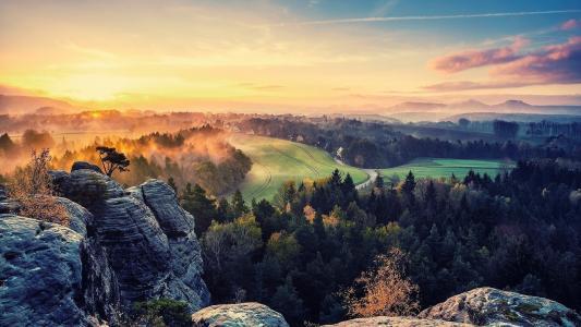 性质,丘陵,道路,树木,建筑物,天空,领域,雾