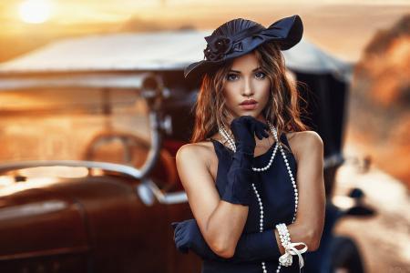 女孩,模型,摄影师,亚历山德罗迪Cicco,肖像,日落,珠子,帽子,看