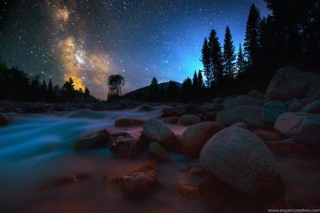 石头,森林,夜空,河multa,照片,evgeny野兔