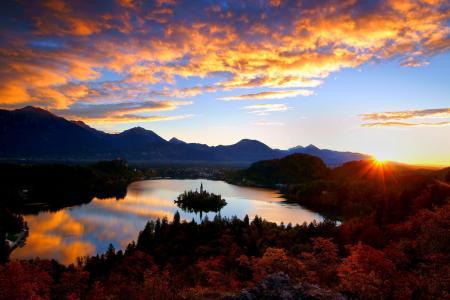 性质,秋季,山,斯洛文尼亚,湖,小岛,美丽,天空,太阳