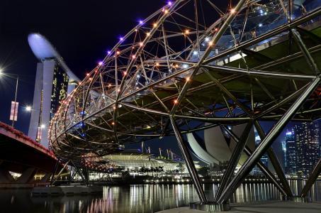 新加坡,螺旋桥,河,美容,建筑物,灯光,夜间
