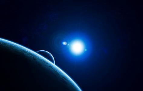 行星,太阳,光环,月亮