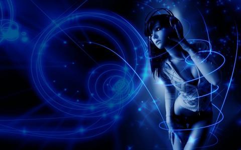 女孩,黑发,音乐,蓝色背景