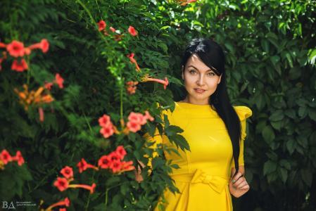 夏天,女人,花园,布什,鲜花,心情