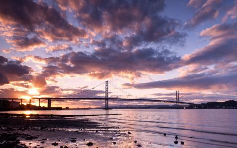 天空,桥,苏格兰,云