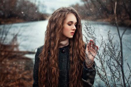 女孩,长长的头发,性质,河,冬季,摄影师,natalya少数民族