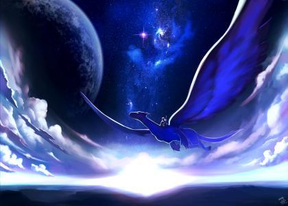 艺术,天空,龙,骑手,飞行,晚上,星球,云,星星