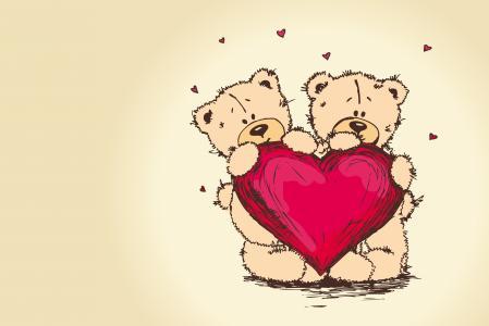 情侣,心,泰迪熊,泰迪熊,情人节,熊