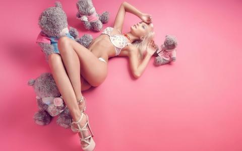 粉红色,模特,双腿,性感