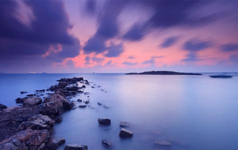 岸,海,云,橙色,天空,日落,晚上,石头