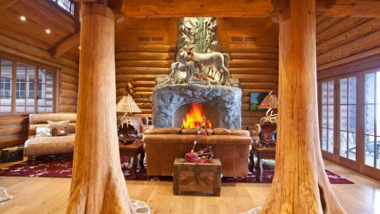 舒适,房子,窗口,壁炉,火,树,鹿