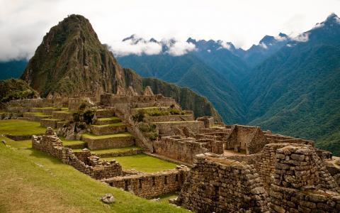 秘鲁,废墟,建筑,古代,马丘比丘,山,石,自然,山,云