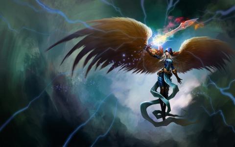kayle,艺术,翅膀,女孩,剑,传说,天使,魔术联盟