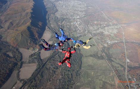 身高,天空,跳伞者,盘旋,自由
